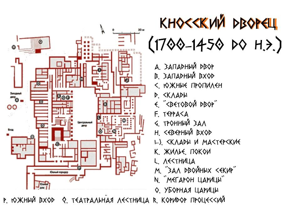 кносский дворец план